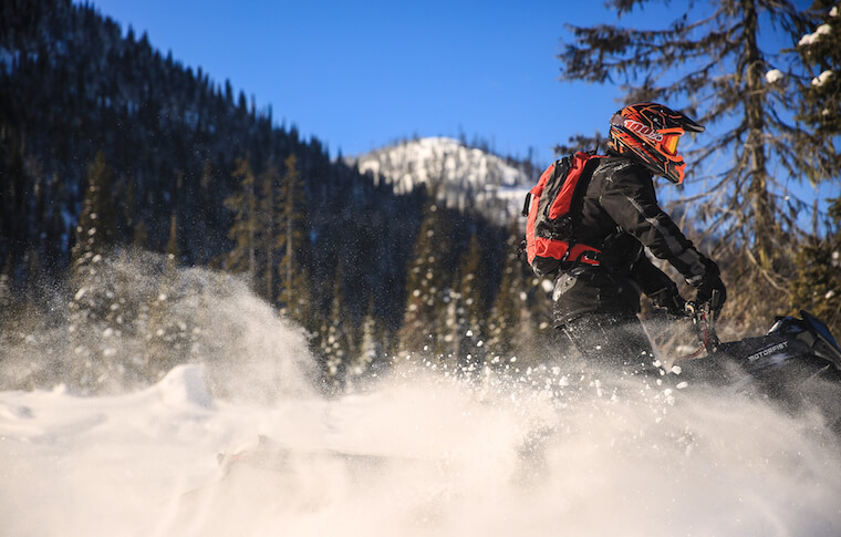 Snowmobiler in Northwest Montana