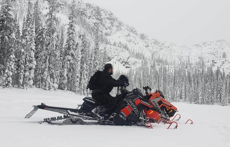 Snowmobiling in Snow-Covered Montana