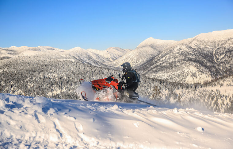 Snowmobiling on Trails in Northwest Montana