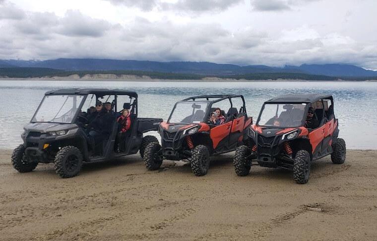 Three Side-by-Side Vehicles near Flathead Lake